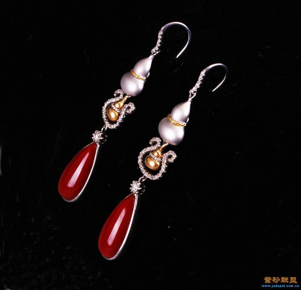 阿卡珊瑚耳环-台湾珠宝设计师(王月要)设计